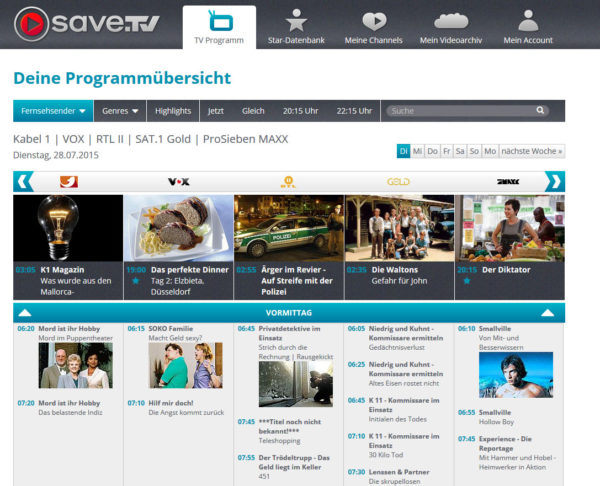 Save.TV Prorgammübersicht - Cloud Videorecorder im Test | Review der App für Windows Phone, Android und Apple iOS