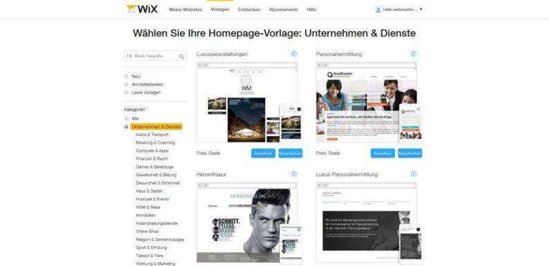Homepage Baukasten Wix im Test