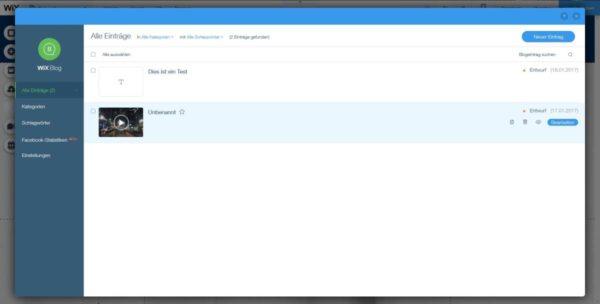 Wix Blogverwaltung