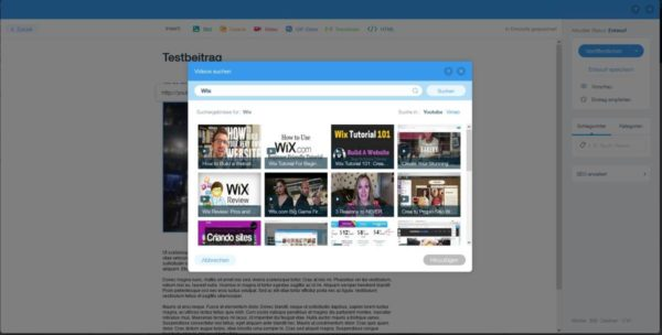 Wix YouTube Suche
