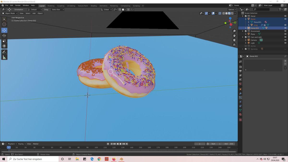 Donuts mit Blender konstruiert