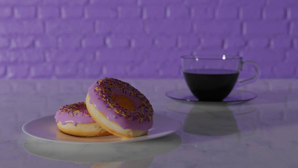 Mit Blender erstellte Donuts und Kaffeetasse und Hintergrund (Bild Andreas Rabe)