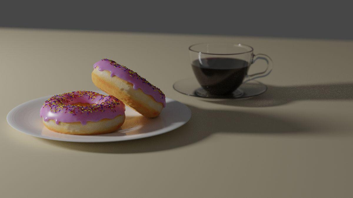 Mit Blender erstellte Donuts und Kaffeetasse (Bild Andreas Rabe)