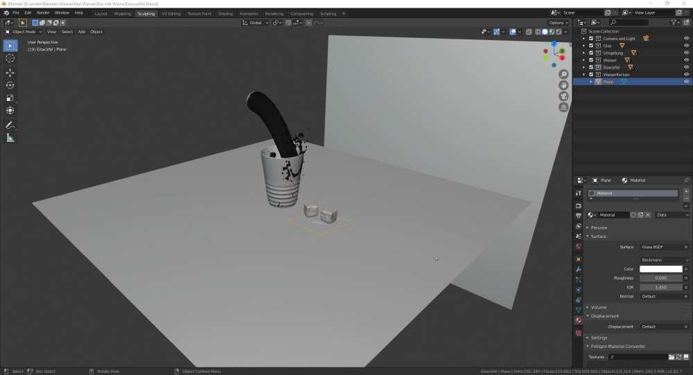 Blender 2.8 Konstruktion eines Wasserglas mit Fluid Simulation